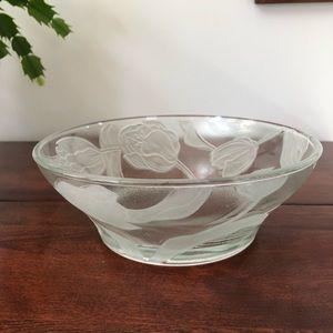 🌻 3/$25 Glass Embossed Tulip Bowl, KIG Indonesia